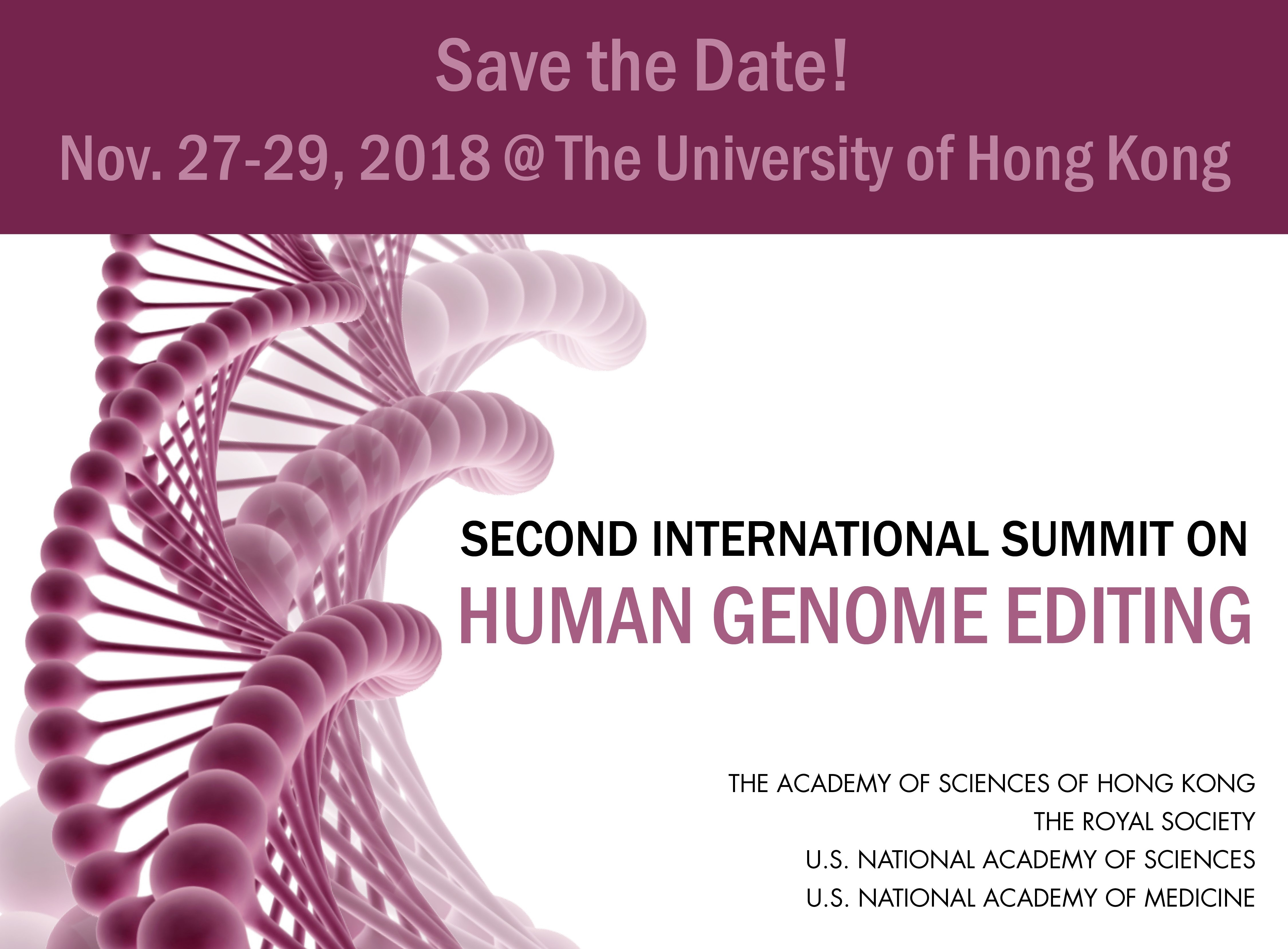 ASHK will co-host the second International Summit on Human Genome Editing in Hong Kong on 27-29 November 2018. Please save the date!