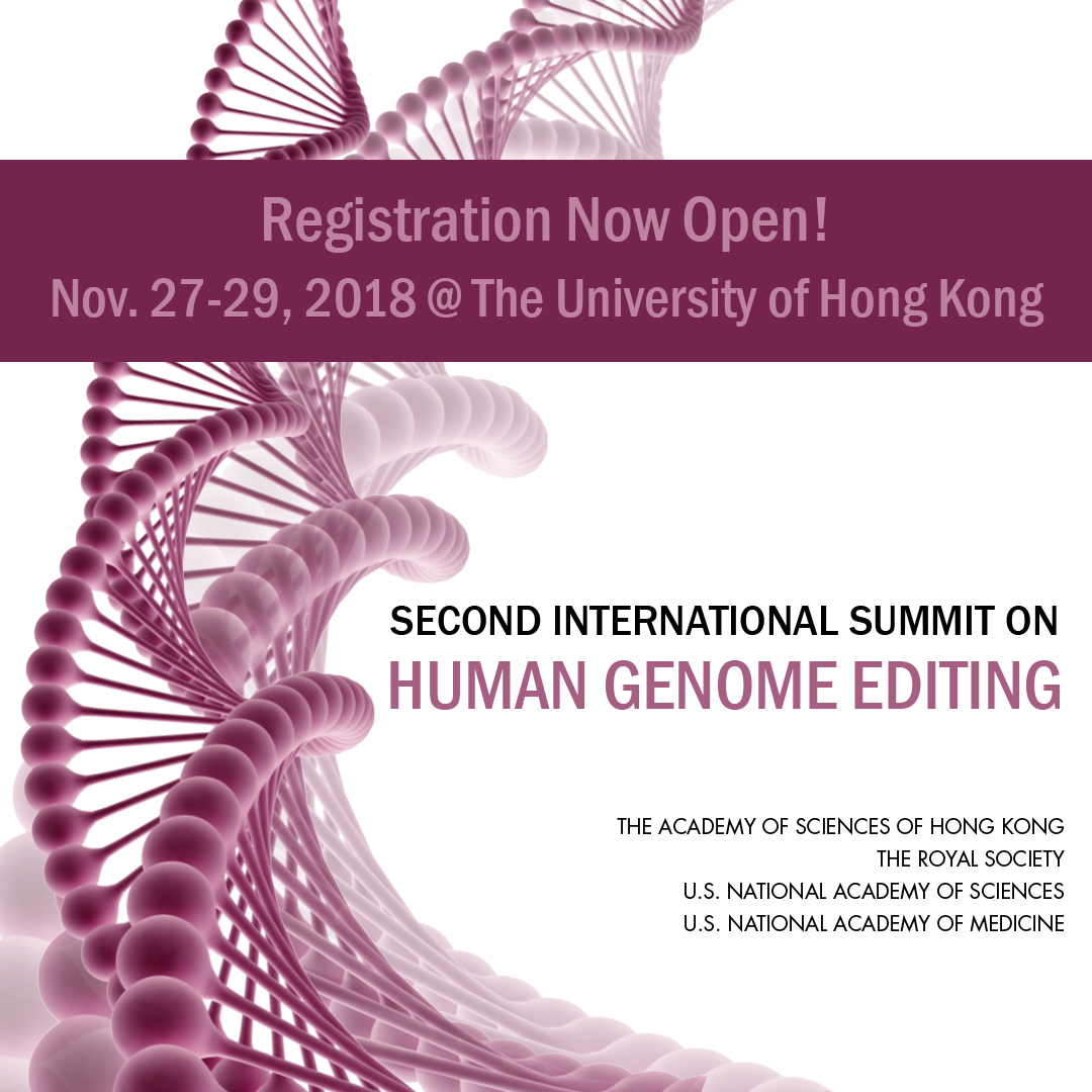 Updated Agenda Now Available for Nov. 27-29 Second International Human Genome Editing Summit in Hong Kong